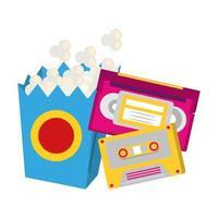 cassettes rétro et boîte de pop-corn vecteur