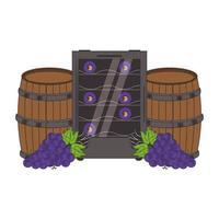 vin tonneau en bois et grappe de raisin design vecteur