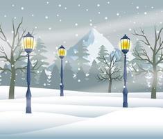 joyeux noël carte avec scène de neige avec lampes vecteur
