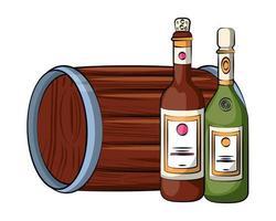 bouteilles de vin et champagne avec tonneau vecteur