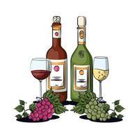 tasse de vin et bouteille avec des raisins vecteur