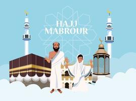 célébration du hajj mabrur avec les gens et la mosquée dans les nuages vecteur