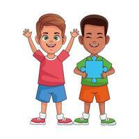 heureux garçons interraciaux avec des personnages avatars de pièces de puzzle vecteur