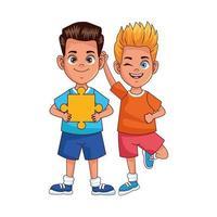 heureux petits garçons avec des pièces de puzzle avatars personnages vecteur