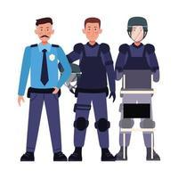 Groupe de policiers anti-émeute en uniforme vecteur