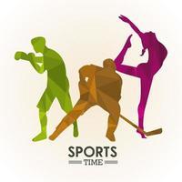 affiche de temps de sport avec des silhouettes dathlètes colorées vecteur