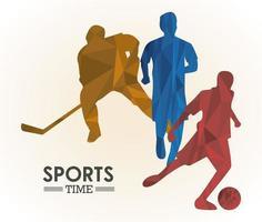 affiche de temps de sport avec des personnages colorés dathlètes vecteur