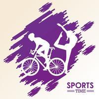 homme athlétique balade à vélo sport silhouette vecteur