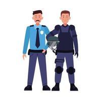 couple de policiers anti-émeute en uniforme vecteur