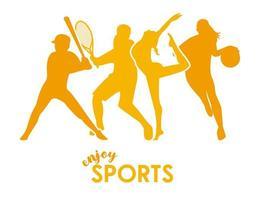 affiche de temps de sport avec des silhouettes dathlètes jaunes vecteur