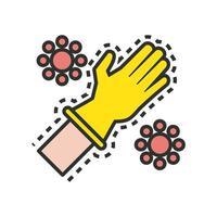 gant en caoutchouc avec ligne de particules covid19 et icône de style de remplissage