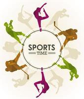affiche de temps de sport avec des silhouettes de figures d & # 39; athlètes dans un cadre circulaire vecteur