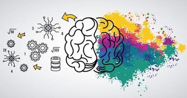 modèle de puissance cérébrale avec éclaboussures de couleurs et éléments de jeu vecteur