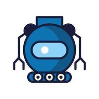 robot avec roues cyborg icône isolé