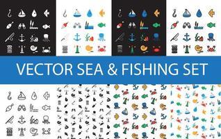 ensemble d & # 39; icônes marins et de pêche isolés vecteur