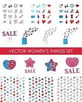 femme, accessoires, icônes, ensemble, de, cosmétiques, vêtements vecteur