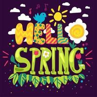 bonjour printemps lettrage dessiné à la main vecteur