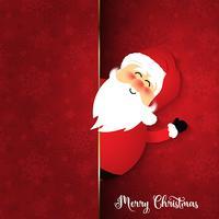 Santa mignon sur fond de flocon de neige vecteur