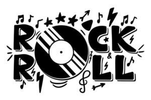 lettrage rock and roll pour t-shirt, autocollant, impression, tissu, tissu vecteur