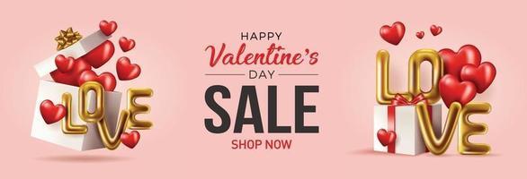 carte de voeux joyeuse Saint Valentin bannière vectorielle avec des éléments de la Saint-Valentin comme la conception de cadeaux et de coeurs sur fond rouge. amour de texte métallique or, ballons rouges réalistes. illustration vectorielle vecteur
