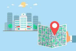 touriste avec carte en ville vecteur