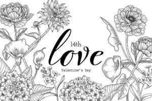 fond de Saint Valentin floral dessiné à la main. vecteur