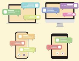 conversations de chat dans divers outils. téléphone portable, tablette, ordinateur, ordinateur portable, ensemble de conversation.