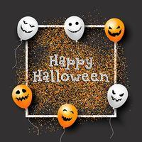 Fond de confettis Halloween avec des ballons vecteur