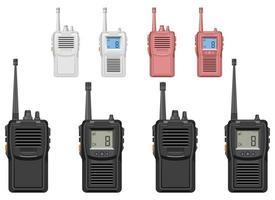 Ensemble d'illustration de conception de vecteur de talkie-walkie isolé sur fond blanc