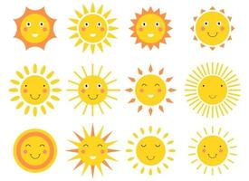 sourire, soleil, dessin animé, vecteur, conception, illustration, ensemble, isolé, blanc, fond vecteur