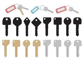Ensemble d'illustration de conception de vecteur de clé de porte