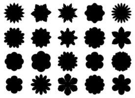 ensemble de silhouette de belles fleurs