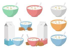 Bol de céréales avec jeu d'illustration de conception de vecteur de lait isolé sur fond blanc