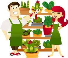 magasiniers d'étagère de jardinage de dessin animé vecteur