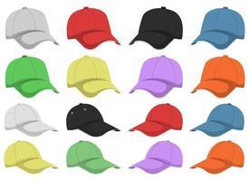 ensemble d'illustration de conception de vecteur de casquette isolé sur fond blanc