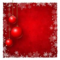 Fond de Noël avec des boules et des flocons de neige