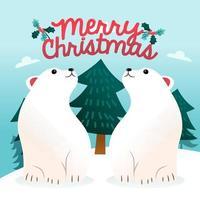 dessin animé joyeux noël ours polaires hiver vecteur