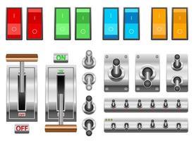 ensemble d'illustration de conception de vecteur d'interrupteur marche / arrêt isolé sur fond blanc
