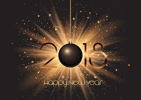 Boule de bonne année sur fond de starburst