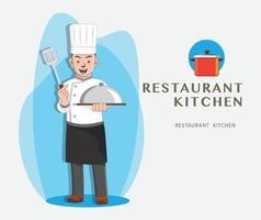 conception de restaurant de chef vecteur