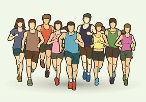 coureur de marathon hommes et femmes vecteur