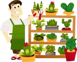 étagère de jardinage homme dessin animé vecteur