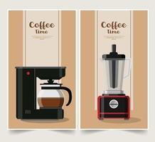 ensemble de conception de cafetière vecteur