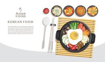 cuisine coréenne bibimbap concept de cuisine asiatique vecteur
