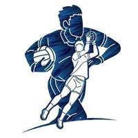 Action de joueurs de football gaélique vecteur