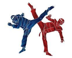 action de combat de taekwondo vecteur
