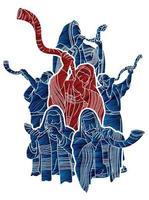 groupe de juifs soufflant la corne de shofar vecteur