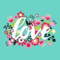 amour rétro jolies fleurs vecteur