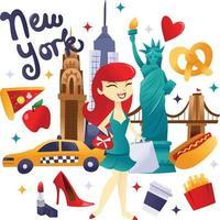 super mignon shopping new york et culture culinaire vecteur