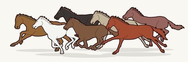 sept chevaux courant vecteur